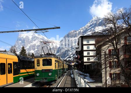 Swiss trains in the station, Grindelwald ski resort, Swiss Alps, Jungfrau Aletsch; Bernese Oberland; Switzerland; - Stock Photo