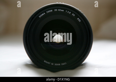 The front glass of a Sigma wide angle lens. - Stock Photo