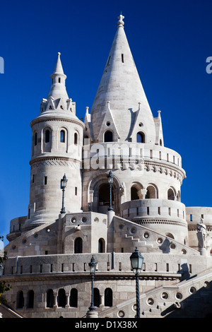 Fisherman's Bastion or Halaszbastya on the Buda Castle hill in Budapest, Hungary - Stock Photo