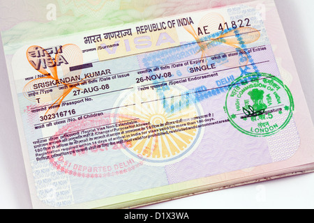 India visa for entry for holiday travel in a UK passport, UK - Stock Photo