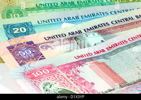 United Arab Emirates, UAE, Dirhams - currency money notes - Stock Photo