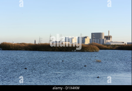 Dungeness nuclear power station. From the RSPB Dungeness Reserve. Coots can be seen on the lake in the foreground - Stock Photo