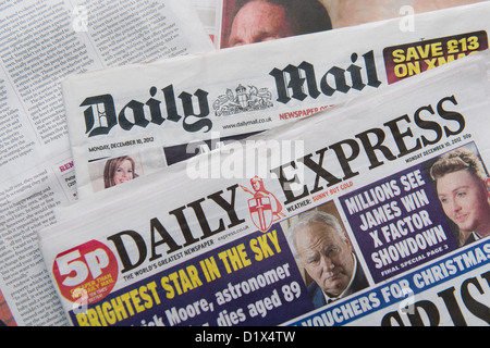 The front pages and mastheads of UK British English daily national newspapers Daily Express and Daily Mail - Stock Photo