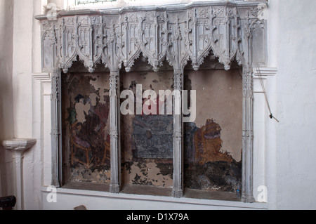 Medieval wall paintings in St. Edmund`s Church, Maids Moreton, Buckinghamshire, England, UK - Stock Photo