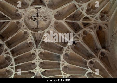 Porch ceiling, St. Edmund`s Church, Maids Moreton, Buckinghamshire, England, UK - Stock Photo