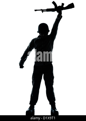 one caucasian revolutionary army soldier man holding ak47 kalachnikov on studio isolated on white background - Stock Photo