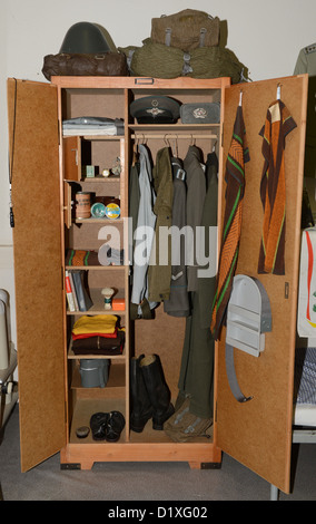 A locker of the NVA(National People's Army) is pictured at the GDR Museum in Pirna, Germany, 18 December 2012. - Stock Photo
