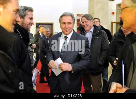 Governing mayor of Berlin Klaus Wowereit (C) arrives for a press conference in Berlin, Germany, 07 January 2013. - Stock Photo