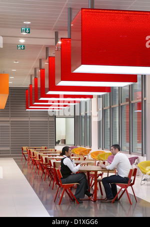 BBC Broadcasting House, London, United Kingdom. Architect: HOK International Ltd, 2012. Cafeteria seating. - Stock Photo