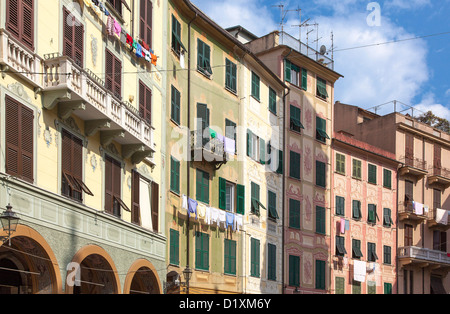 Buildings on Piazza Caprera in Santa Margherita Ligure. Liguria, Italy. - Stock Photo