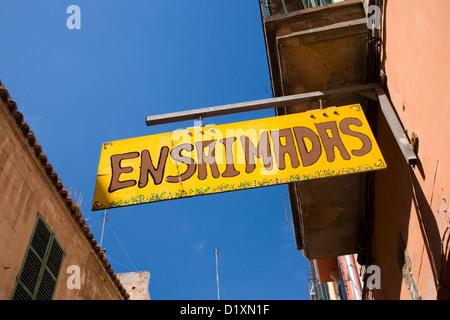 Palma de Mallorca, Mallorca, Balearic Islands, Spain. Sign outside shop selling ensaimadas, a well-known Mallorcan - Stock Photo