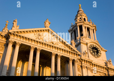 London, Greater London, England. The west front of St Paul's Cathedral, sunset. - Stock Photo