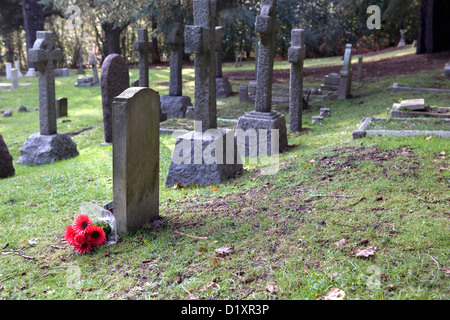 The graves and surroundings at Farnborough military cemetery in Hampshire. - Stock Photo