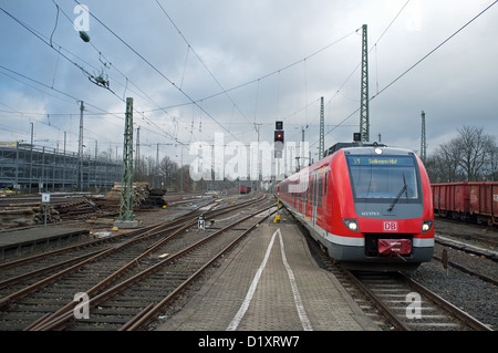 S1 (Suburban Railway) arriving from Dortmund at the end of its journey in Solingen, Germany. - Stock Photo