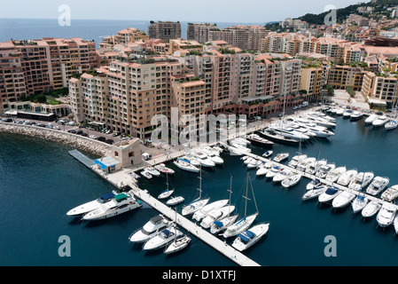 Fontvieille Harbour in the principality of Monaco on the Côte d'Azur - Stock Photo