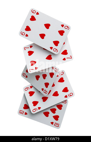 Straight flush cards falling - Stock Photo