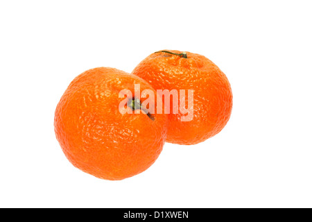 Two whole tangerines together isolated on white background - Stock Photo