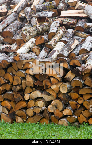 Firewood wood pile with logs chopped ready for the fire or wood burner - Stock Photo