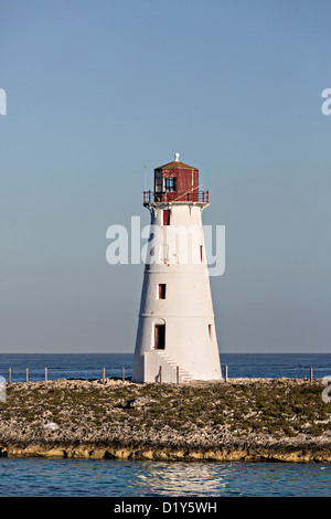 Paradise Island Hog Island Lighthouse, Nassau, Bahamas, Caribbean - Stock Photo