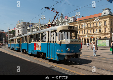 Elk192-1019 Croatia, Zagreb, Trg Josip Jelacica, streetcar - Stock Photo