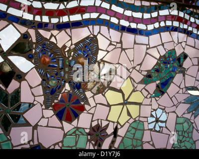 Shards of tile, glass and other discards were used to decorate Watts Towers in Los Angeles. - Stock Photo