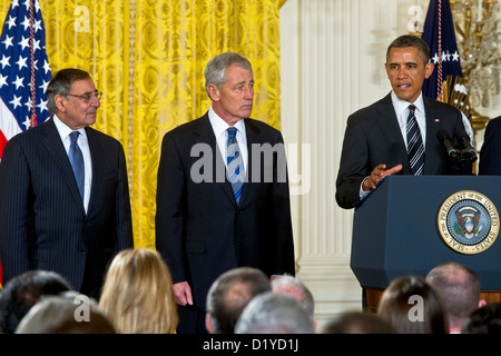 United States Secretary of Defense Leon E. Panetta (L) and former U.S. Senator Chuck Hagel (Republican of Nebraska) - Stock Photo