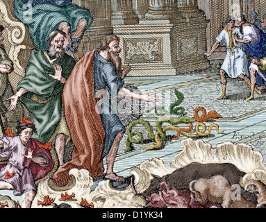 Aaron. High Priest of the Israelites. Aaron throwing her stick, which became in serpent, in front of the Pharaoh. - Stock Photo