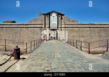 Entrance of citadel of Port-Louis in the Morbihan department in Brittany in north-western France - Stock Photo