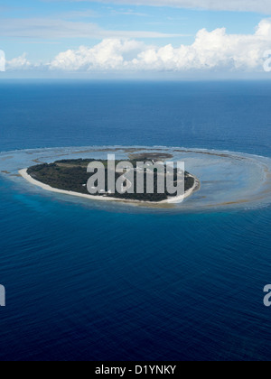 Aerial view of Lady Elliot Island the southern most coral reef of the Great Barrier Reef Queensland Australia - Stock Photo