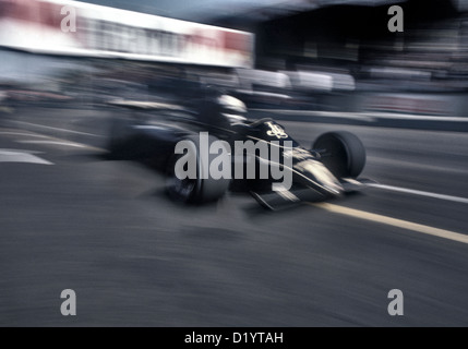 Ayrton Senna driving his JPS-Lotus F1 car in the Portuguese GP 1982 his first GP win. - Stock Photo