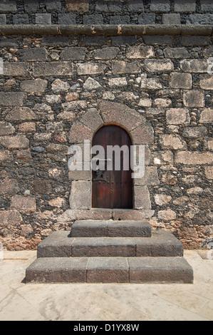 Old wooden Renaissance castle doors from Castillo de San Gabriel (Castle of the Saint Gabriel). - Stock Photo