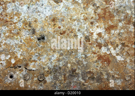 Authentic damaged and rusted metal panels texture from the old Soviet Yakovlev Yak-9 fighter - Stock Photo