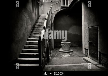 Staircase, patio, Venice, Italy - Stock Photo