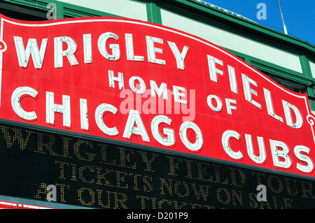 USA Illinois Chicago Wrigley Field marquee above the main entrance at Clark and Addison Streets. Chicago, Illinois, - Stock Photo