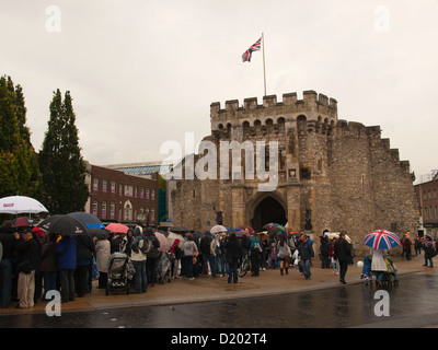 Olympic Torch Relay passing through Southampton Hampshire England UK - crowds waiting for the Olympic Torch at the - Stock Photo