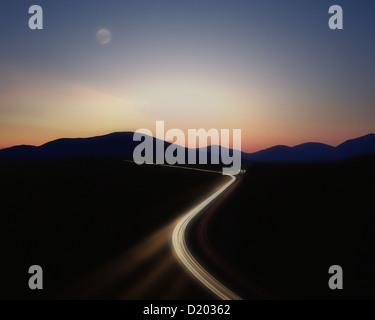 DE - BAVARIA: Autobahn by night (Transport Concept) - Stock Photo