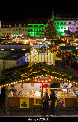 Christmas market and Christmas decorations, Landau, Rheinland-Pfalz, Germany - Stock Photo