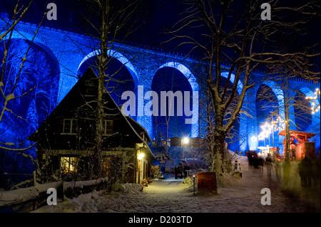 Christmas decorations in the Ravenna gorge, Ravenna bridge in the background, near Hinterzarten, Black Forest, Baden - Stock Photo