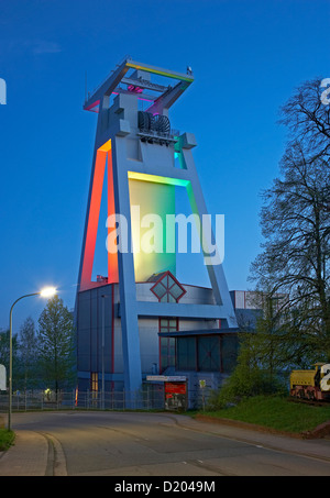Light installation at the Shaft tower of former Goettelborn open-cast mine, Europe's tallest shaft-tower, Saarland, - Stock Photo