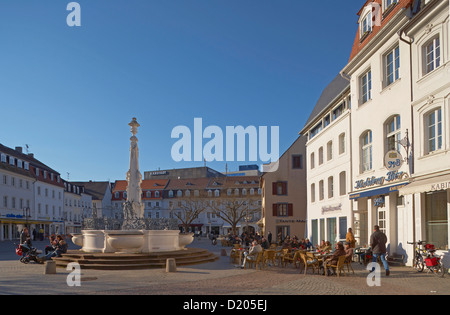 St. Johann marketplace with fountain in the sunlight, Saarbruecken, Saarland, Germany, Europe - Stock Photo
