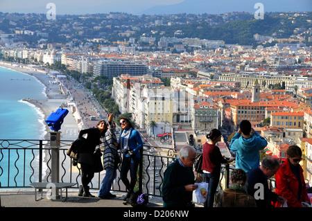 View from Tour Bellanda onto Promenade des Anglais, Nice, Cote d'Azur, South France, Europe - Stock Photo