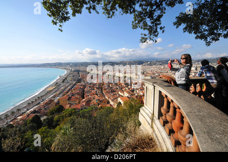 View from the Chateau onto the old town, Nice, Cote d'Azur, South France, Europe - Stock Photo