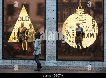 Shopping street, city center, Christmas decoration, shops, Christmas shopping, illumination, Copenhagen, Denmark, - Stock Photo
