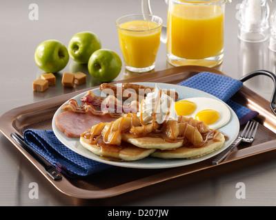 Apple Caramel Pancake Breakfast - Stock Photo