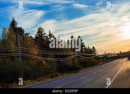 Rural highway, Maine, USA