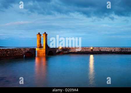 Illuminated bridge, Puente de las Bolas in the evening, Arrecife, Lanzarote, Canary Islands, Spain, Europe - Stock Photo