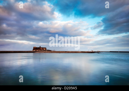 Dusk at Castillo de San Gabriel, Arrecife, Lanzarote, Canary Islands, Spain, Europe - Stock Photo