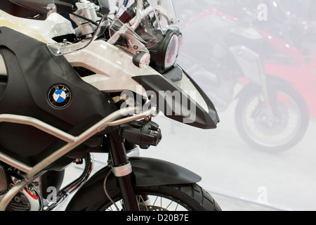bmw motorcycles on display at the washington motorcycle show stock