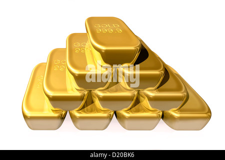 A pile, stack, heap, row, rows, of real fine pure bullion gold bars cut-out cut out cutout isolated on a white background. - Stock Photo