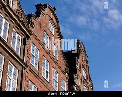 Detail of a row of old hanseatic trader houses in Hamburg, typical architecture for cities in Northern Germany. - Stock Photo